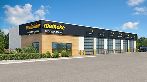 Meineke store front with a Meineke log
