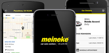 Images of the Meineke mobile app and various screen pages
